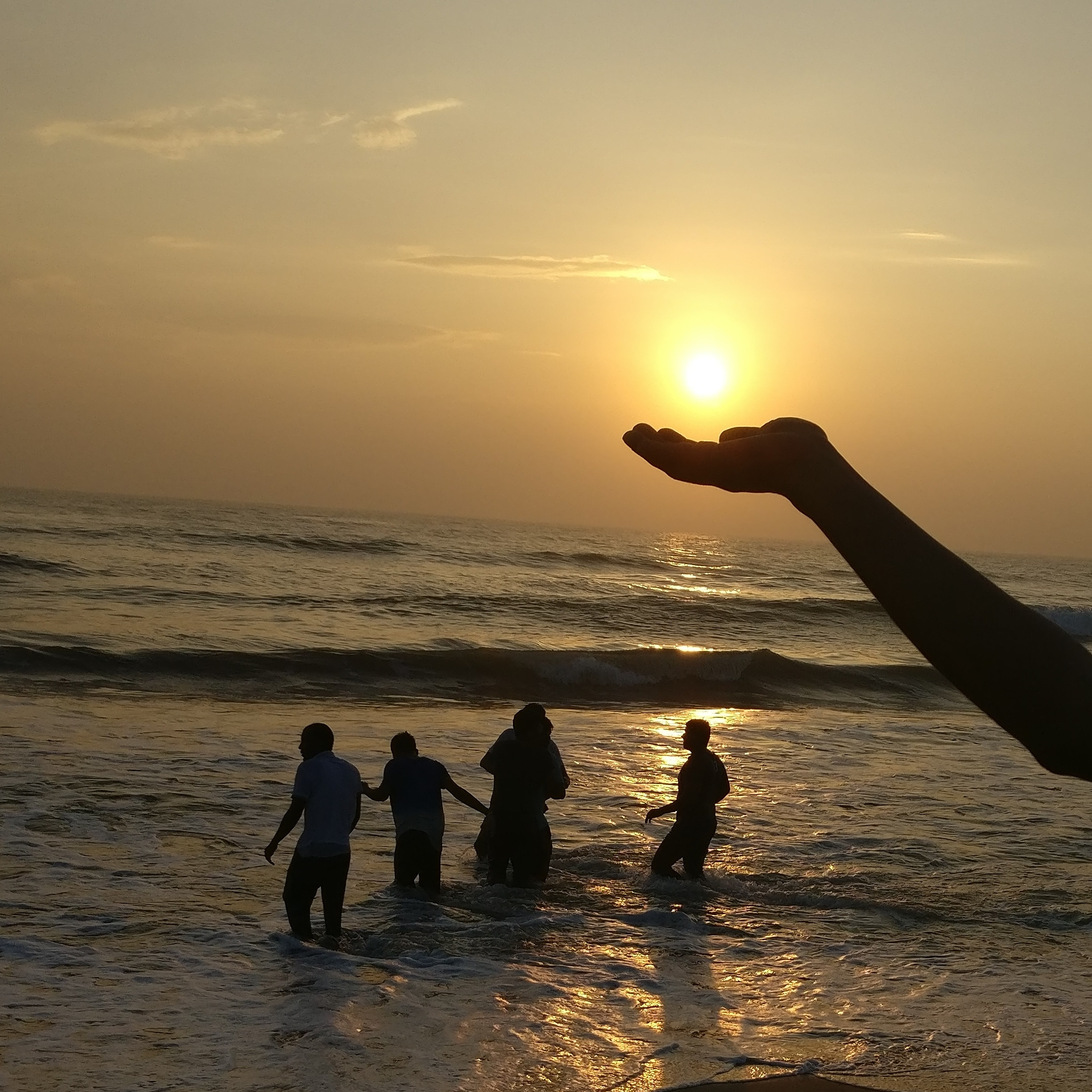 Power of the Sun in the Palm of my hands at Tiruvanmiyur Beach