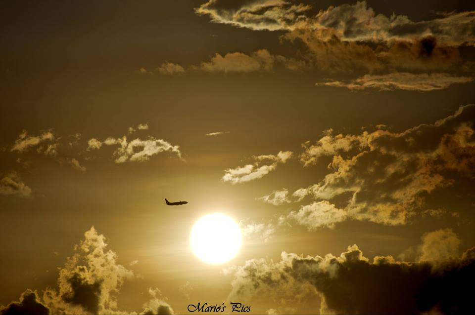 Sunset with Flight in Chennai hot sky