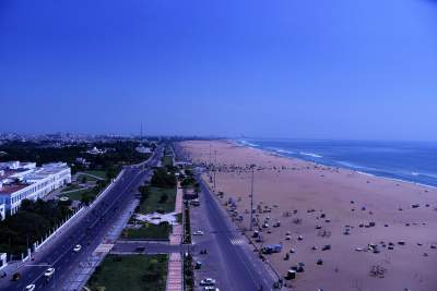 World famous Marina Beach Bird eye view