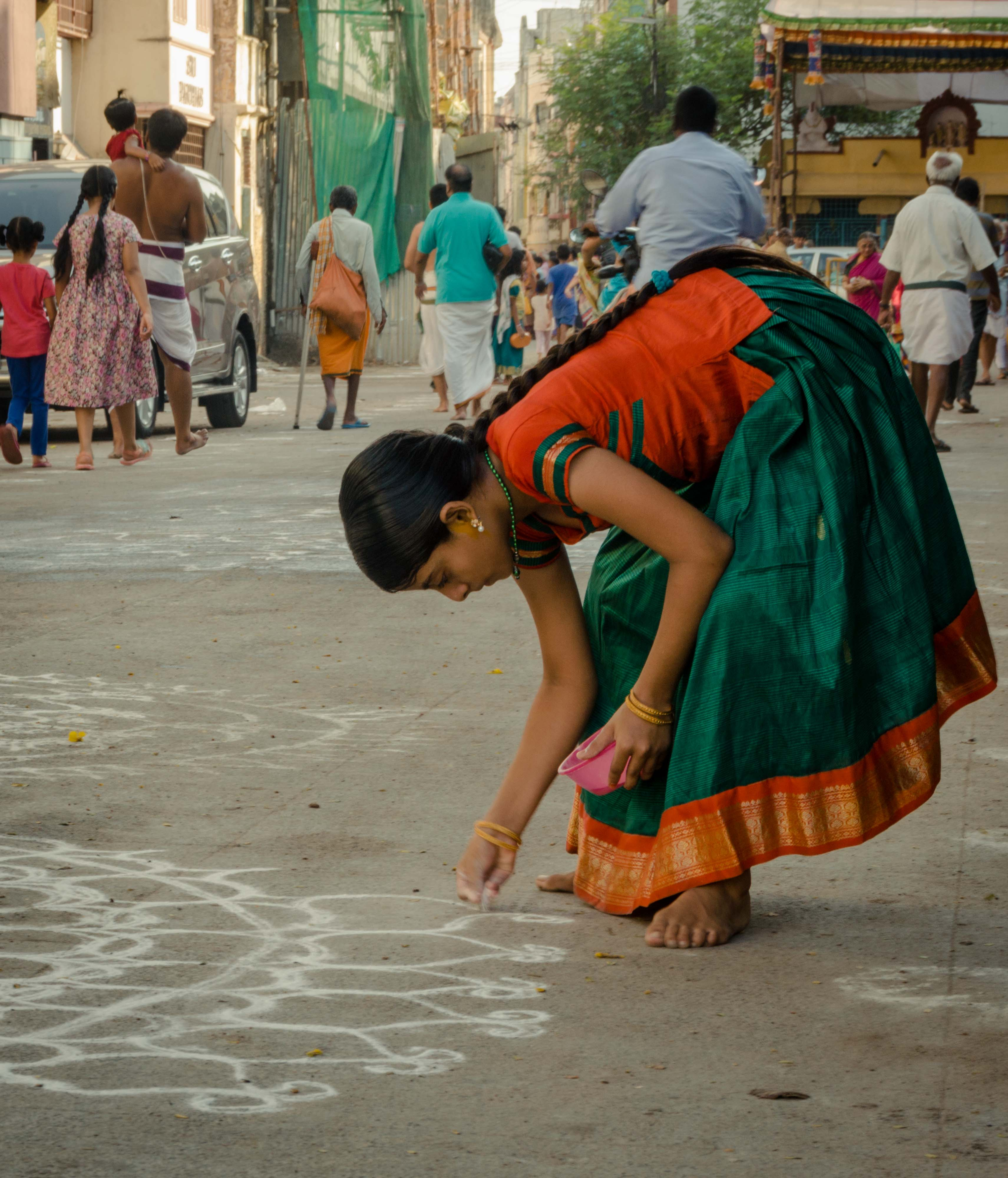 Morning starts with the Kolam for Chennaiates