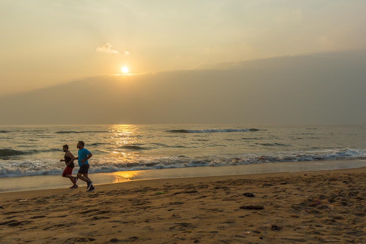 Early morning jogging at marina beach