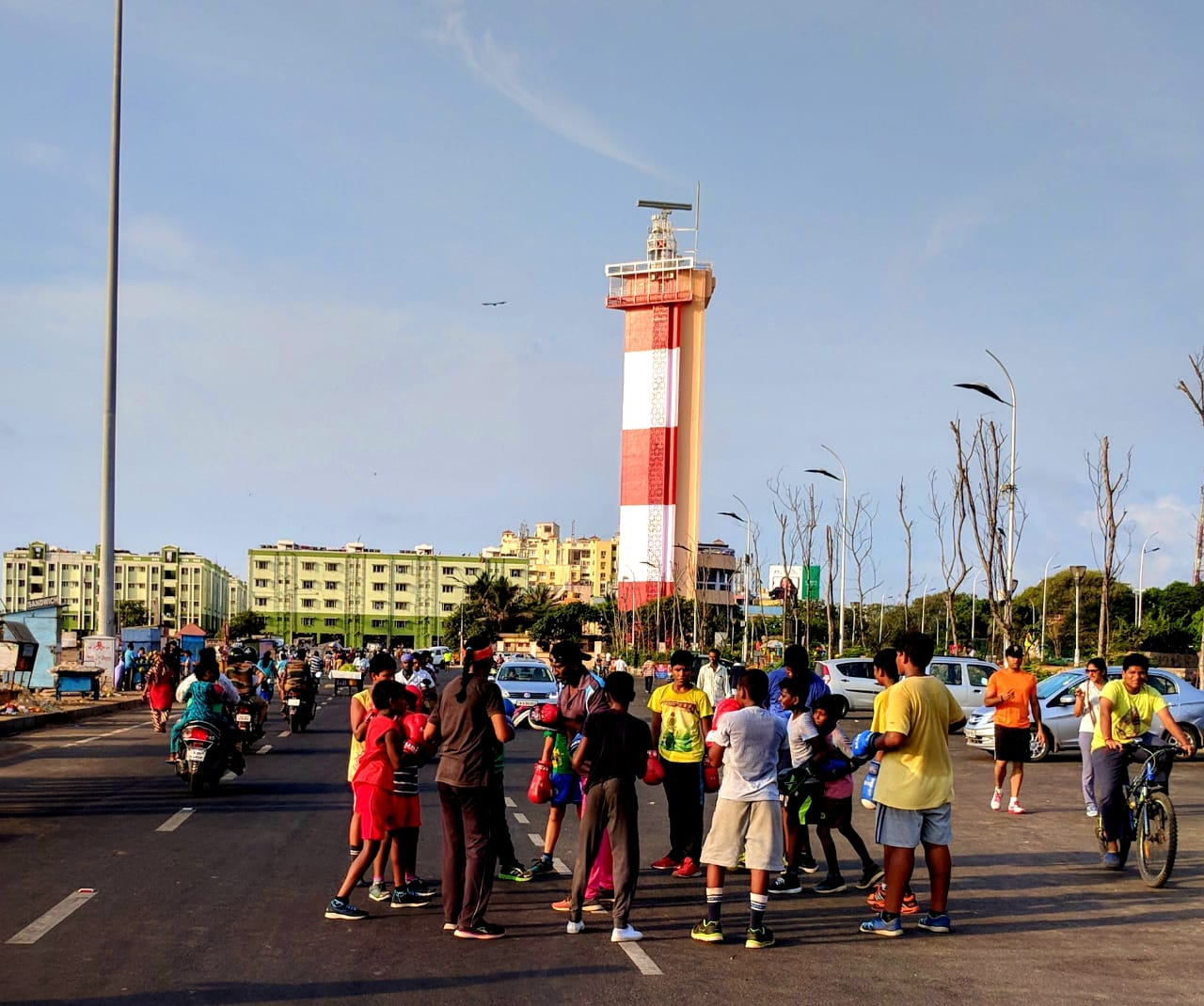 Early morning fitness of modern chennai at Marina Beach
