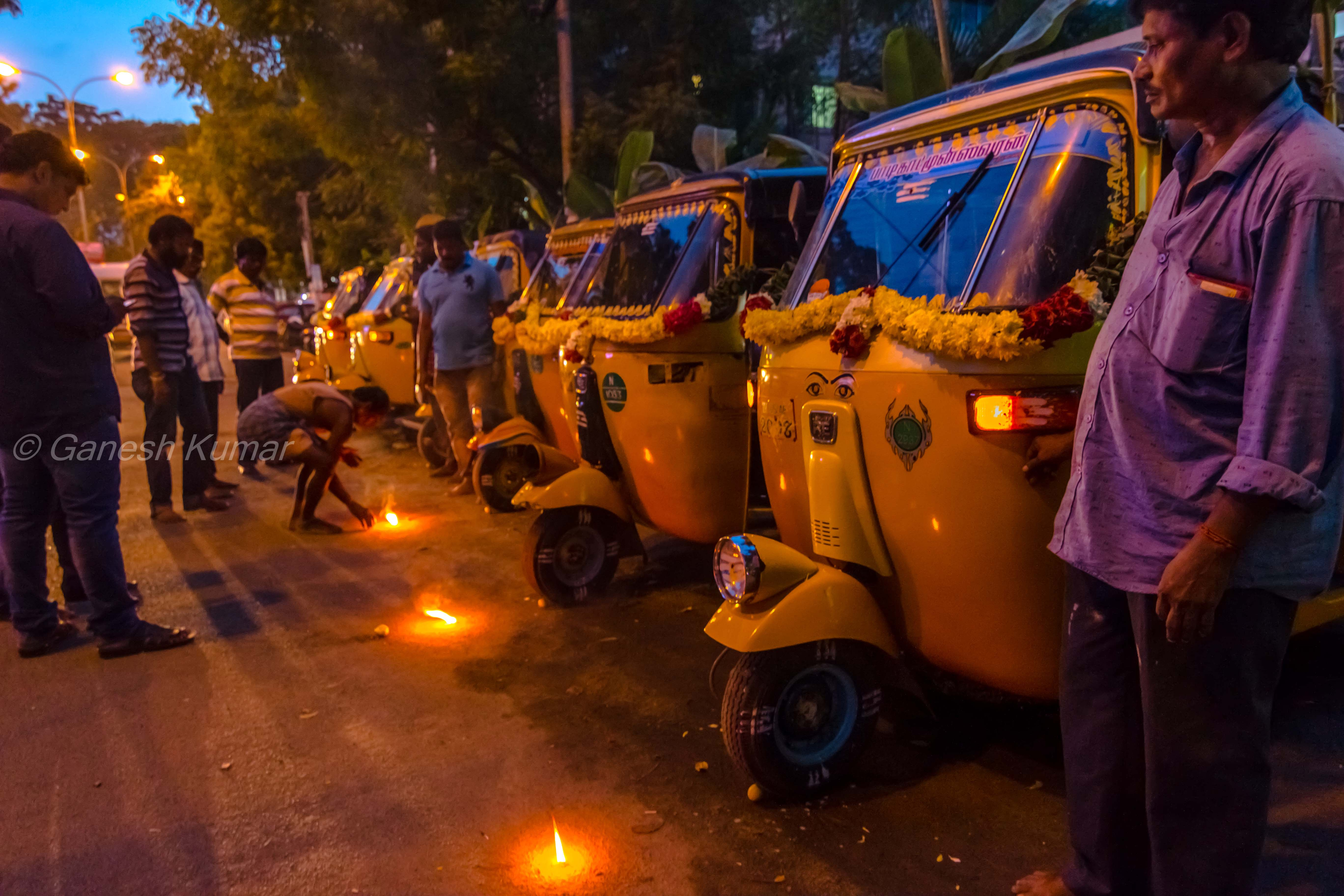 Pooja for each Auto along with  Drivers