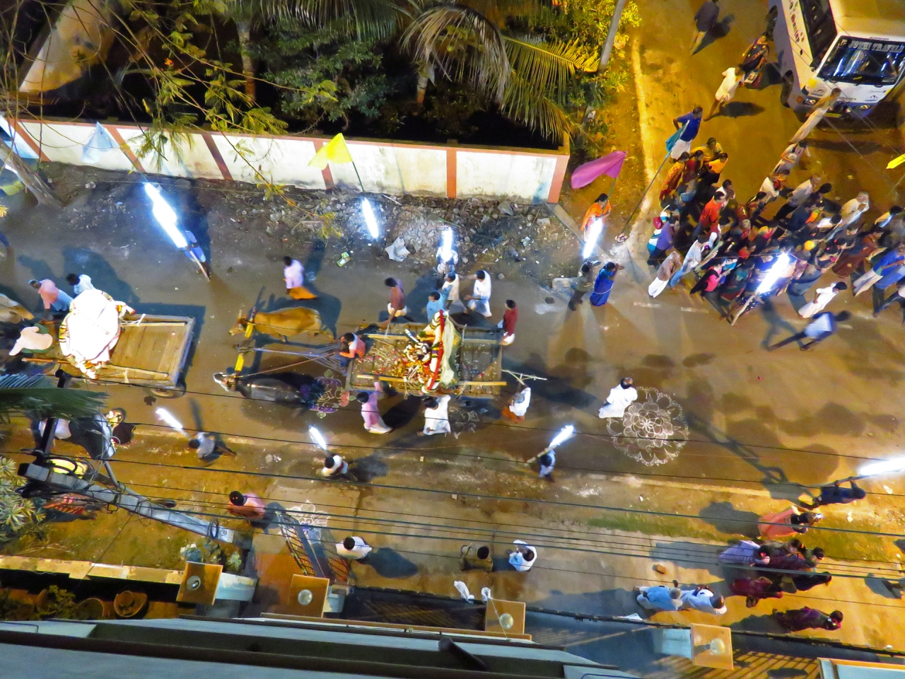Chennai By Night - Top angle of shot of deities procession