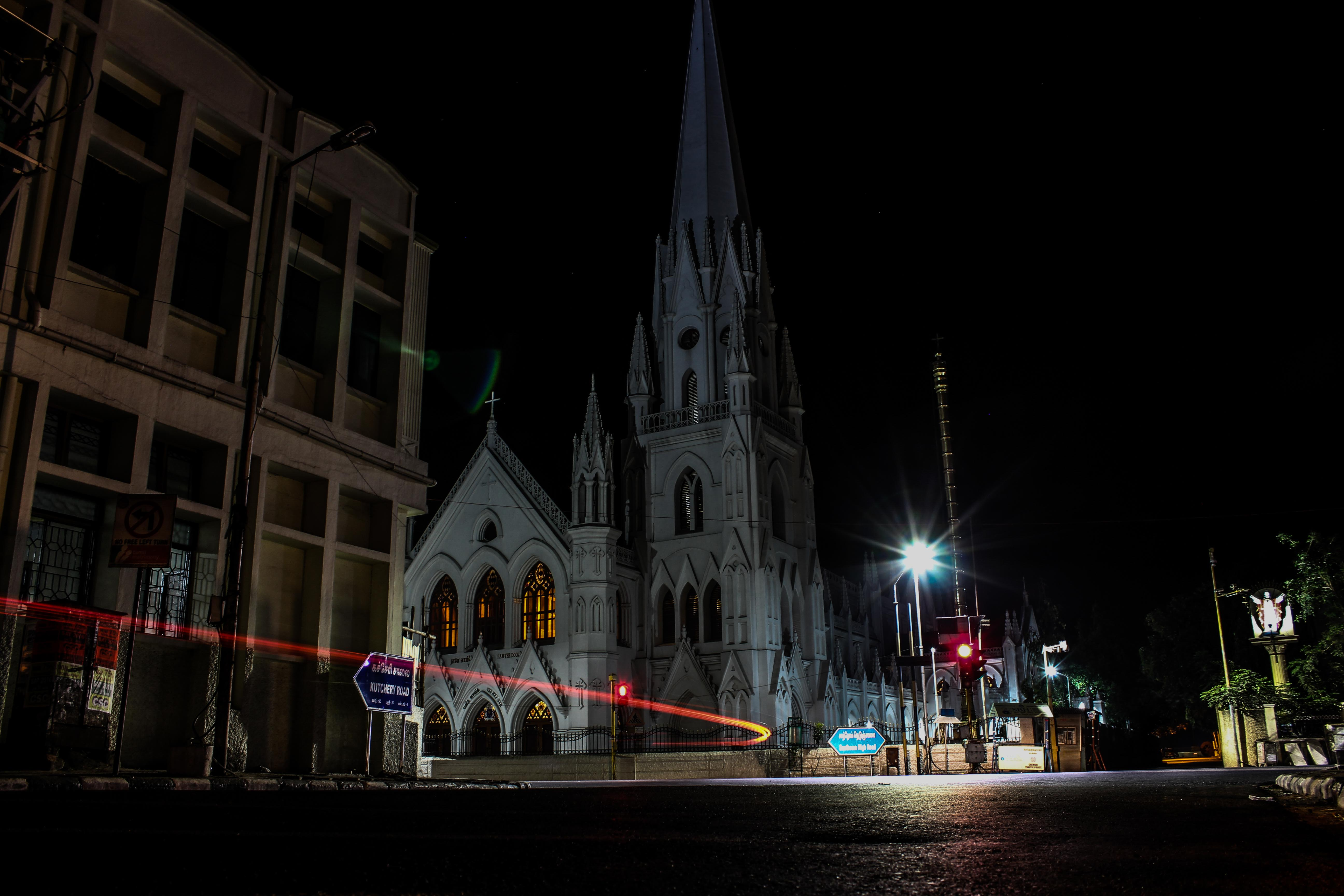 Santhome Church at night