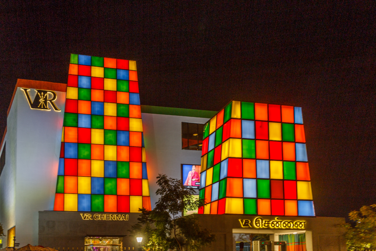 VR Chennai Mall decorated with colorful lights