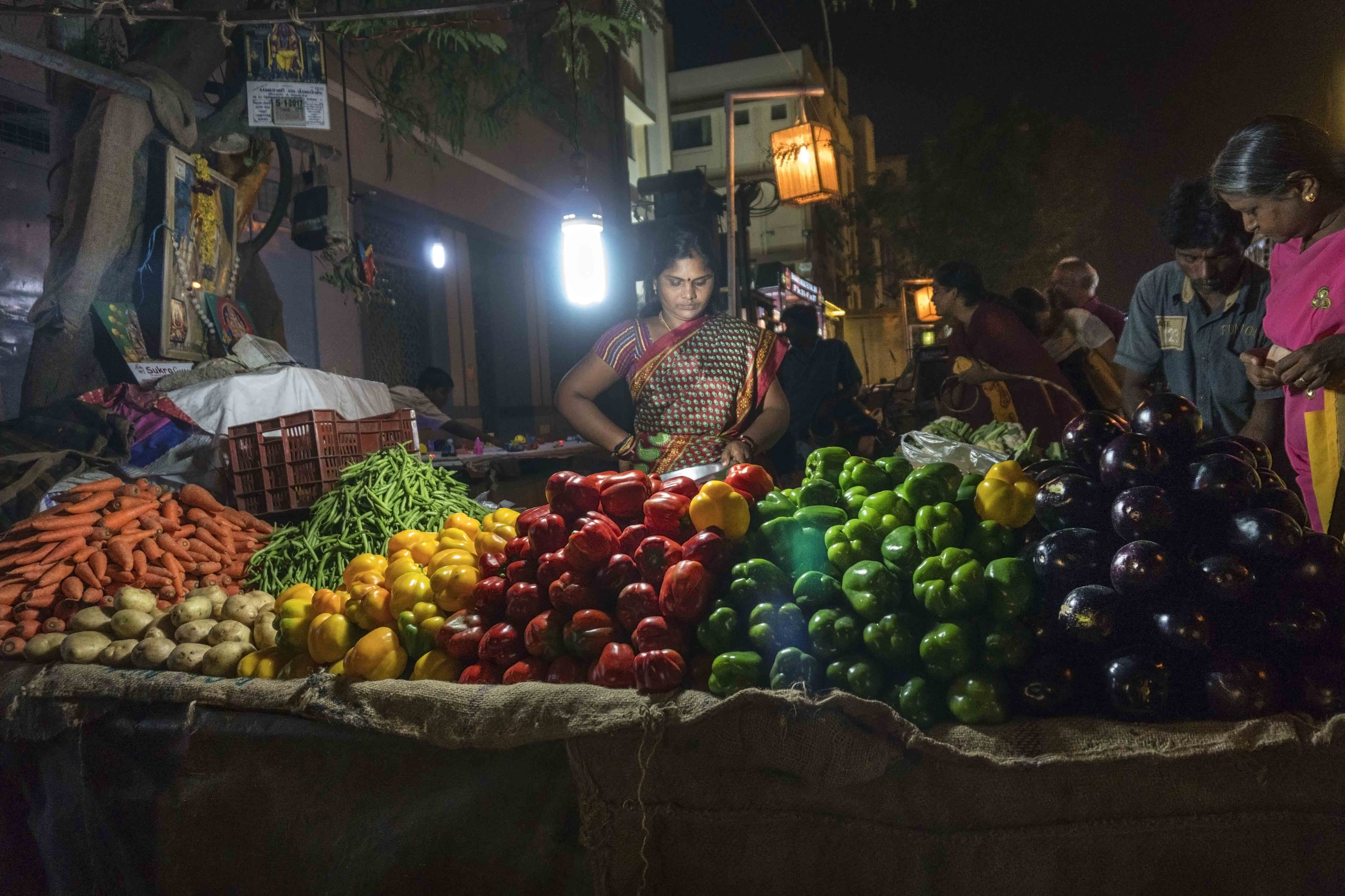 vegetable seller at night