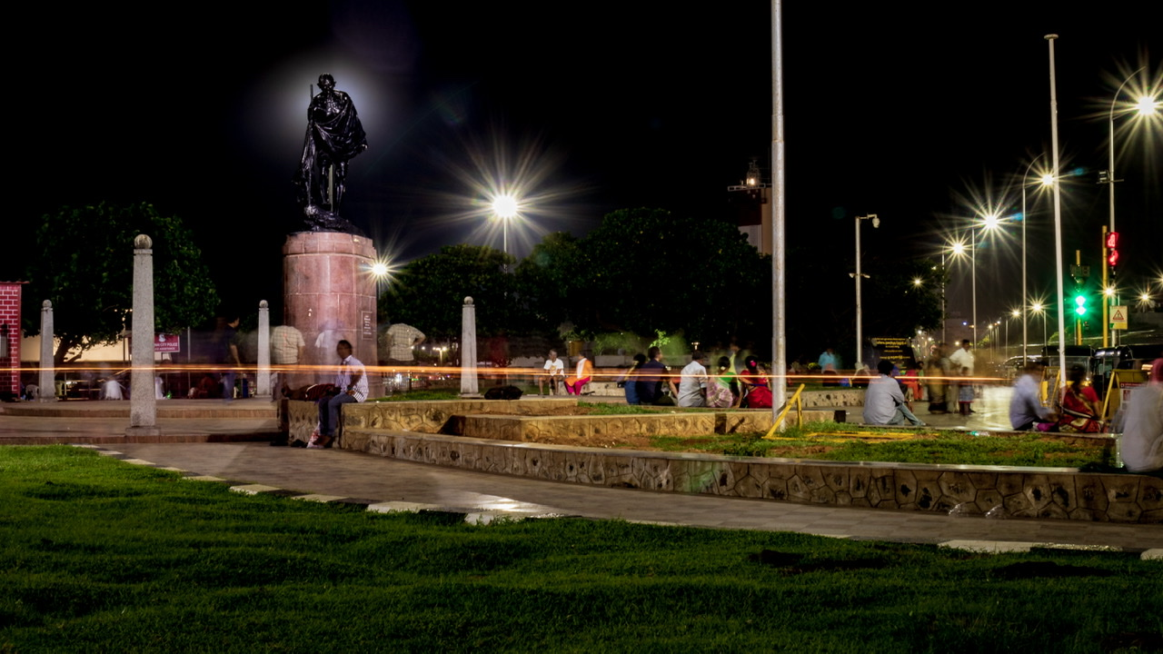 Night view of Gandhi statue