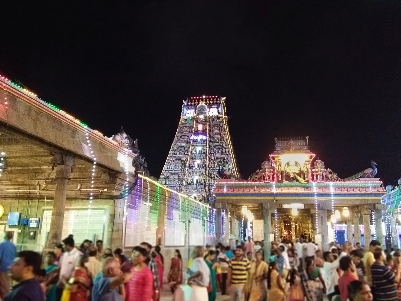 Kapaleeswarar Temple with festival lights