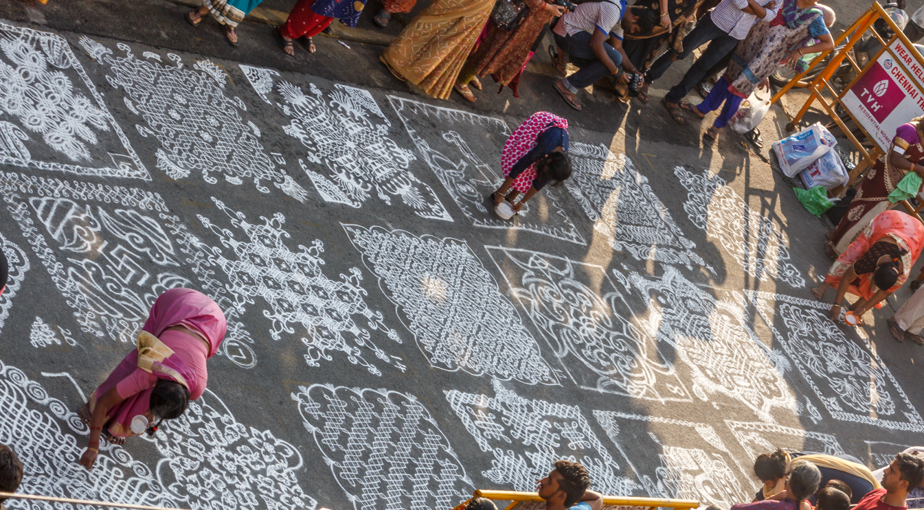 Chennai's traditional kolam art and culture