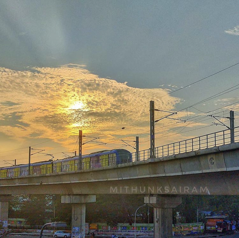 Metro and the sunset